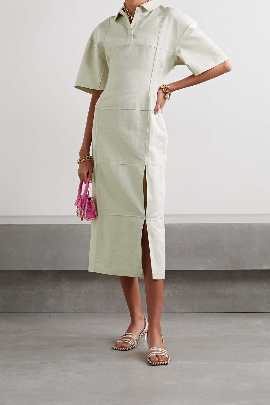 Jacquemus Carro cotton and linen-blend midi shirt dress