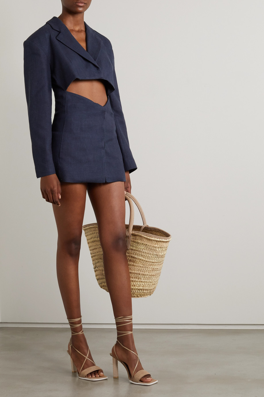 Jacquemus Cutout linen-blend mini dress