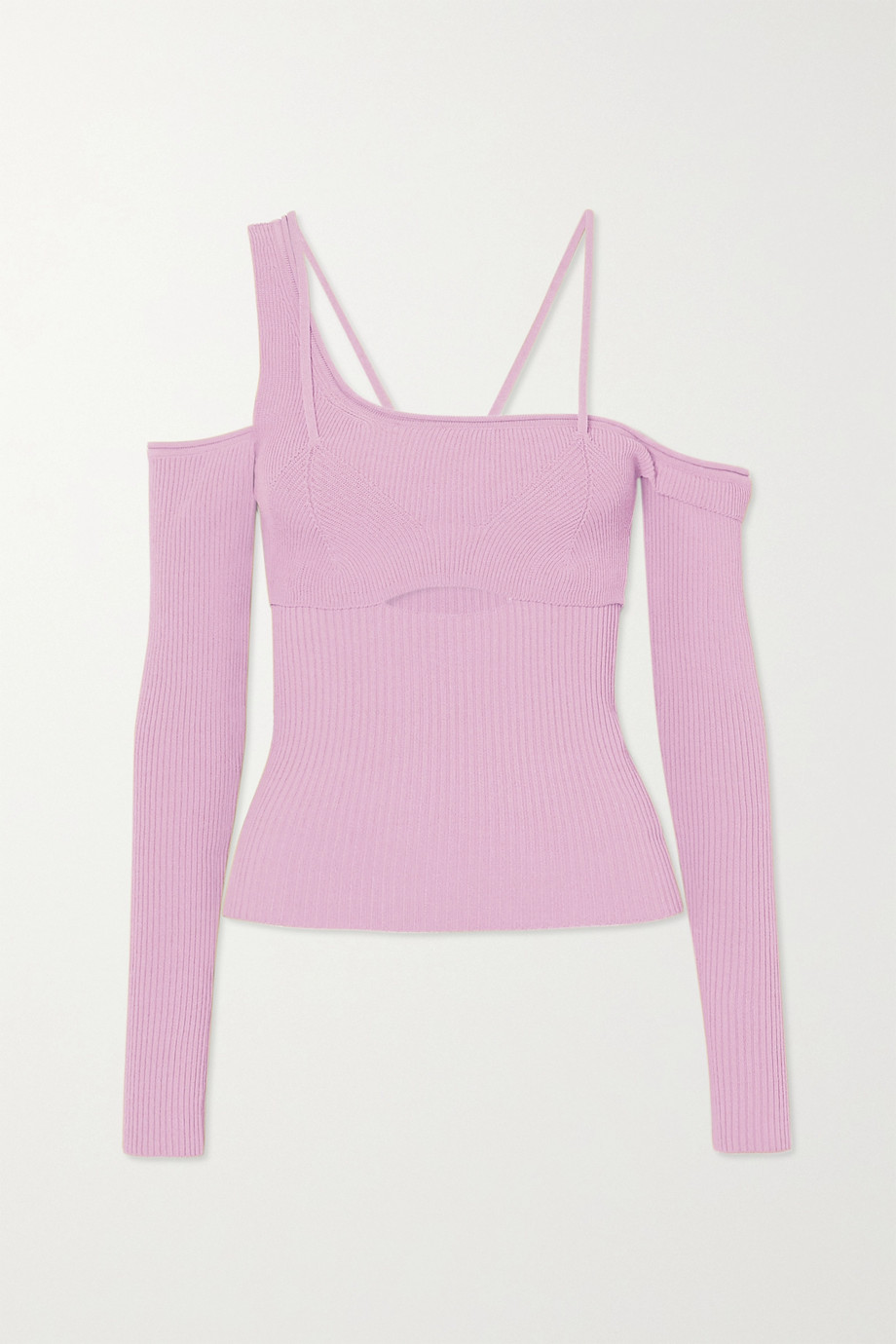 Jacquemus La Maille cold-shoulder ribbed-knit top