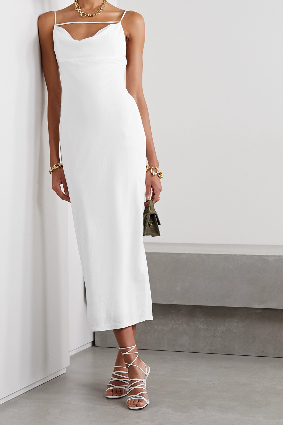 Jacquemus La Robe Adour draped twill midi dress