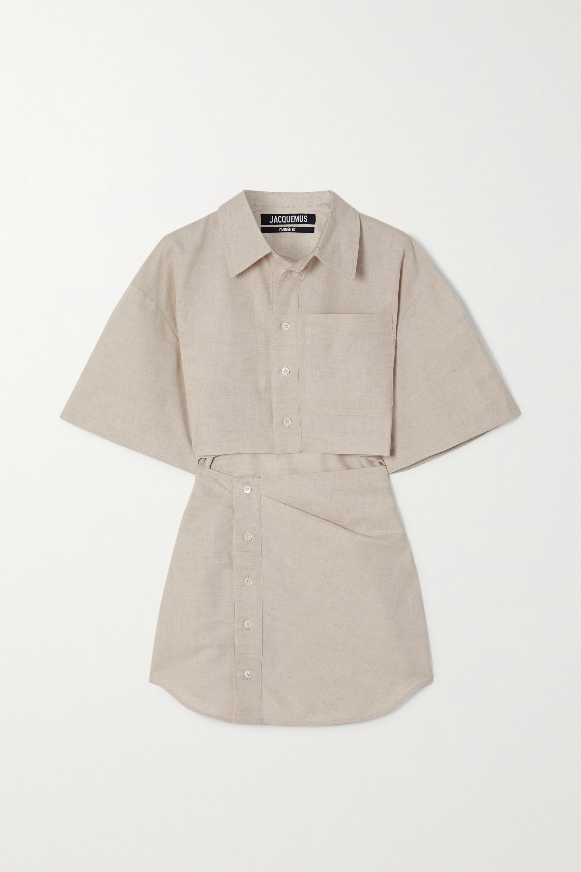 Jacquemus Arles cutout cotton and linen-blend mini shirt dress