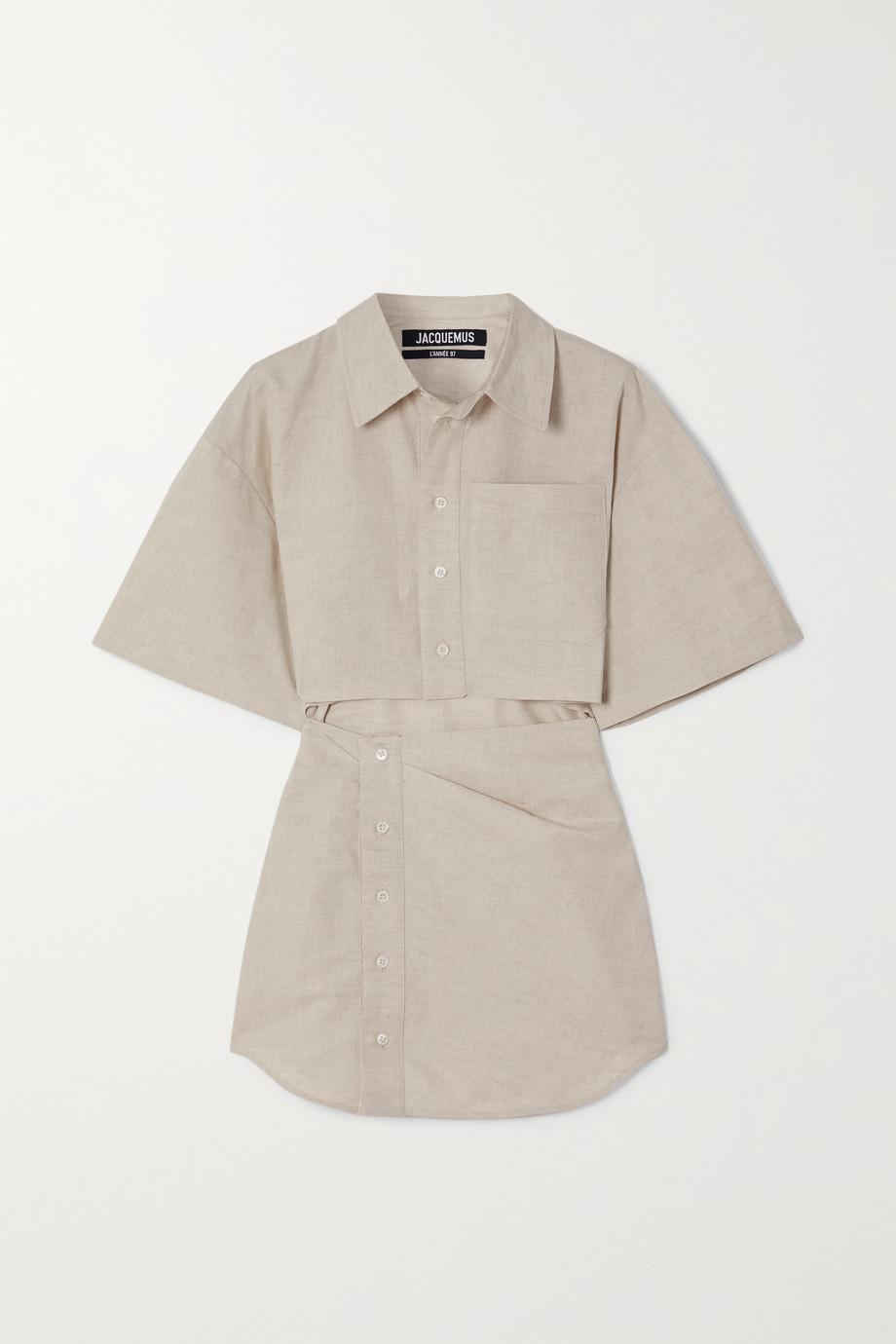 Jacquemus Mini-robe-chemise en coton et lin mélangés à découpes Arles