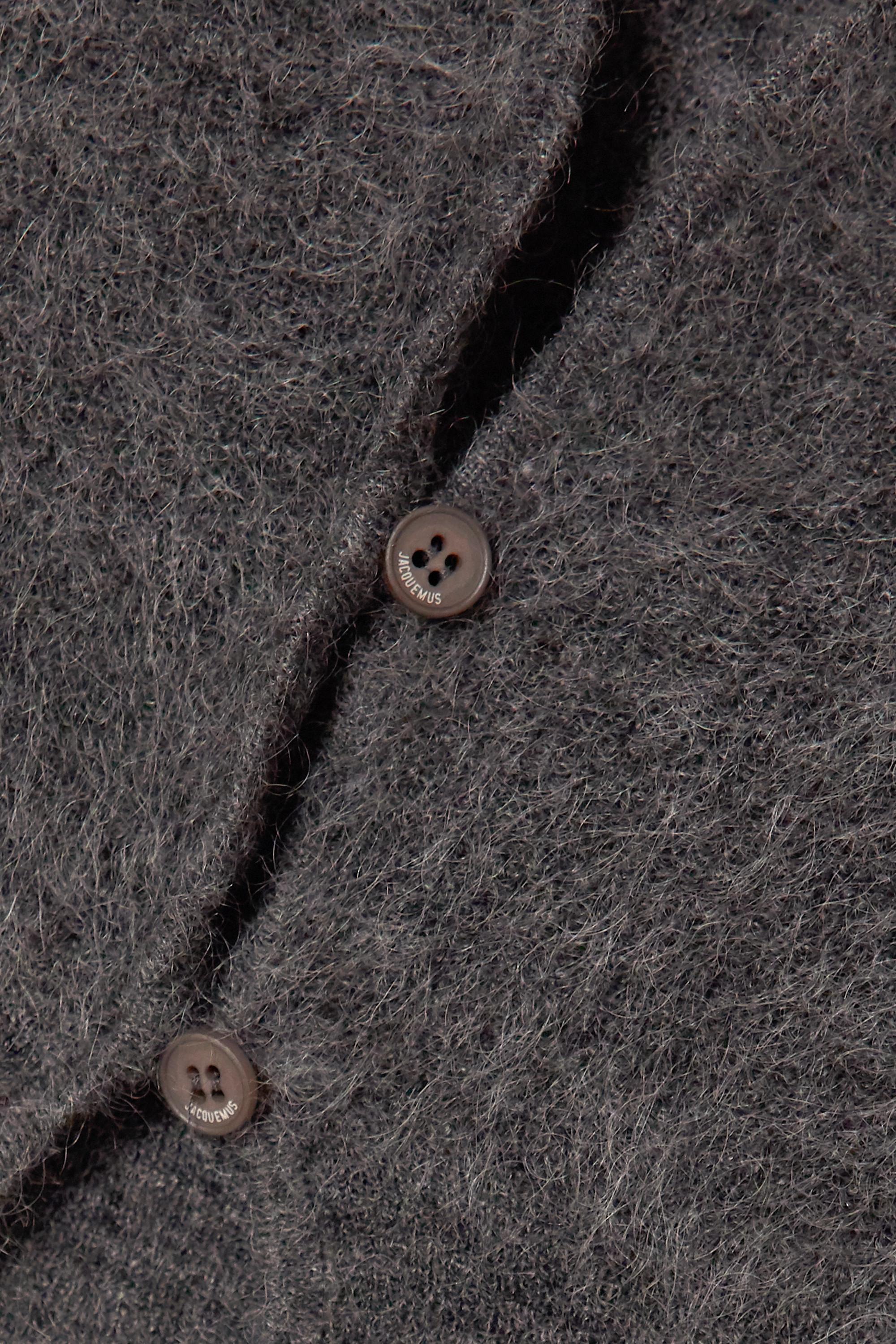 Dark Gray Alzou Cropped Mohair-blend Cardigan | Jacquemus