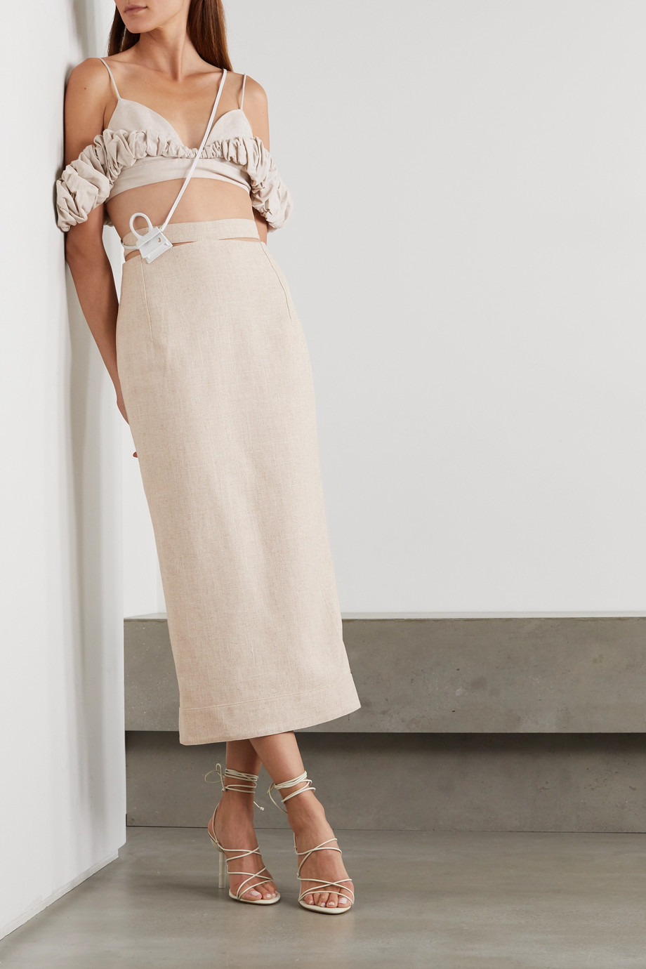 Jacquemus Le Haut Pampelonne cropped ruffled cotton and linen-blend top