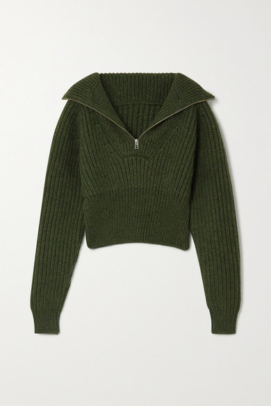 Jacquemus - Olive Cropped Ribbed Wool-blend Sweater