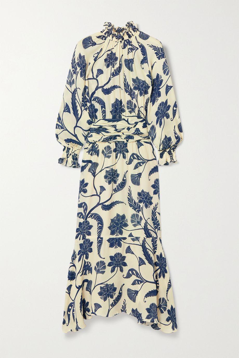 Johanna Ortiz Sacred Kleid aus Seiden-Crêpe mit Blumenprint