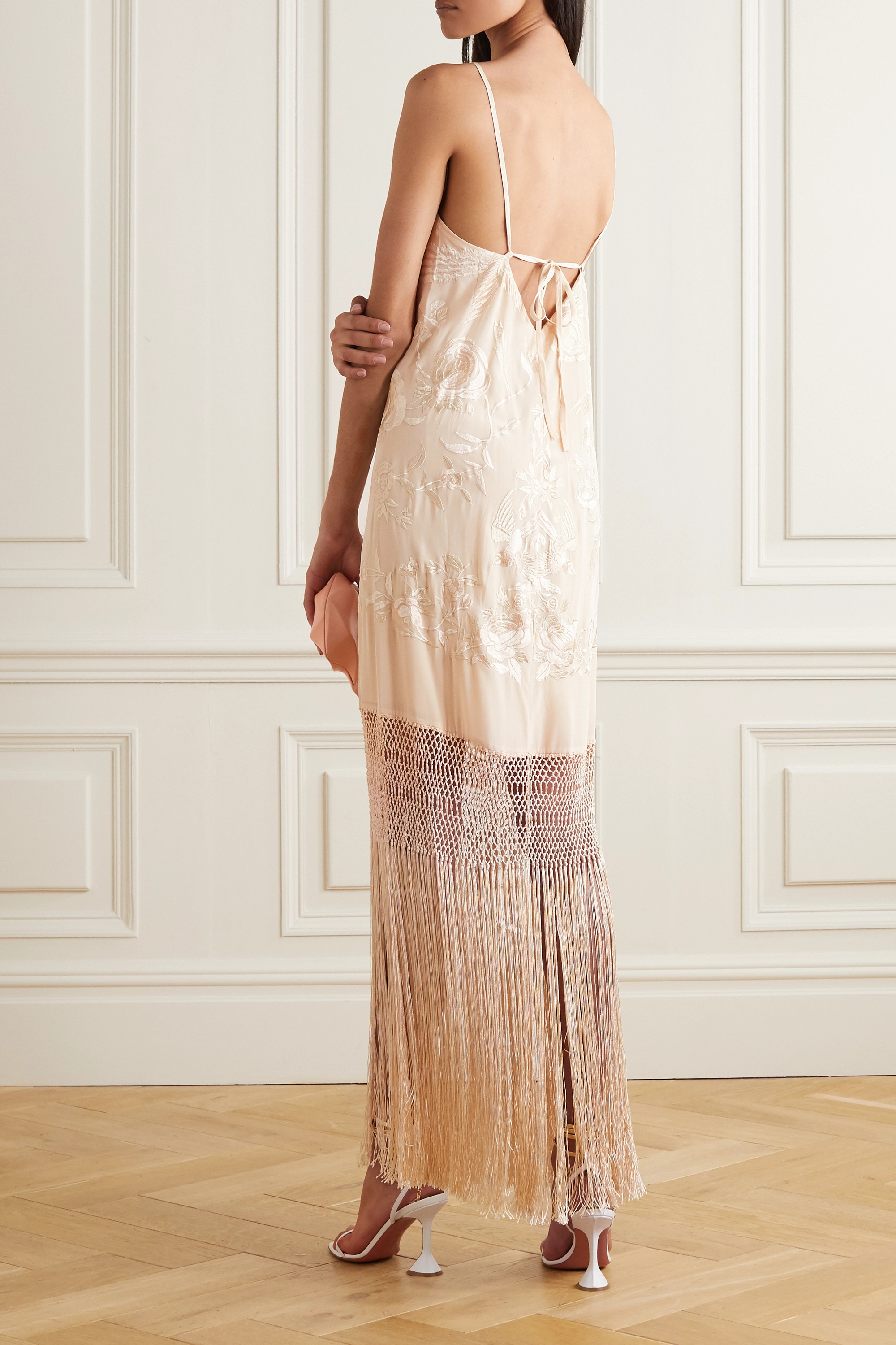 Johanna Ortiz Palm Gold fringed embroidered silk crepe de chine maxi dress