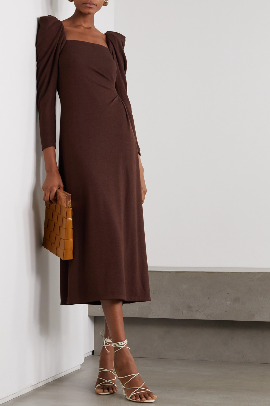 Johanna Ortiz Ember Of A New World ruched backless crepe midi dress