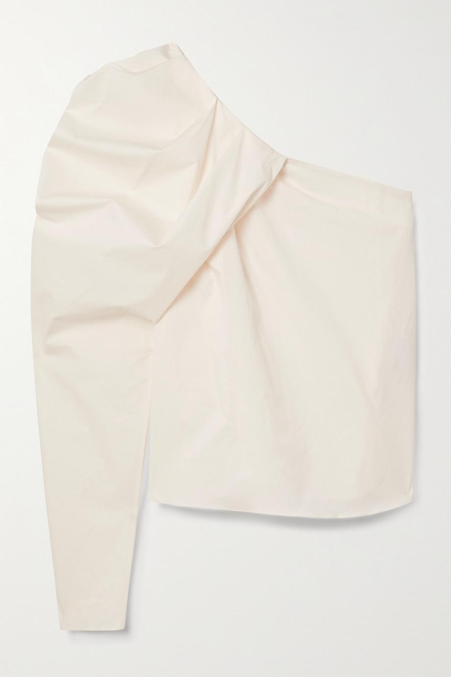 Johanna Ortiz Forgotten Promises convertible one-shoulder draped cotton-blend poplin top