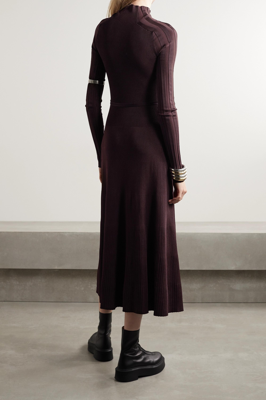 Peter Do Seatbelt ribbed-knit turtleneck midi dress