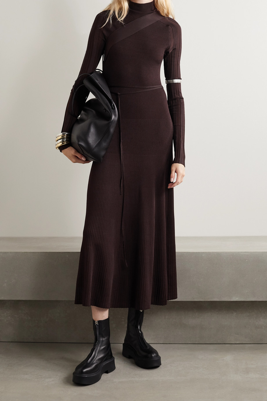 Peter Do Seatbelt ribbed-knit turtleneck midi dress