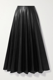 Peter Do Paneled pleated vegan leather and satin-crepe maxi skirt