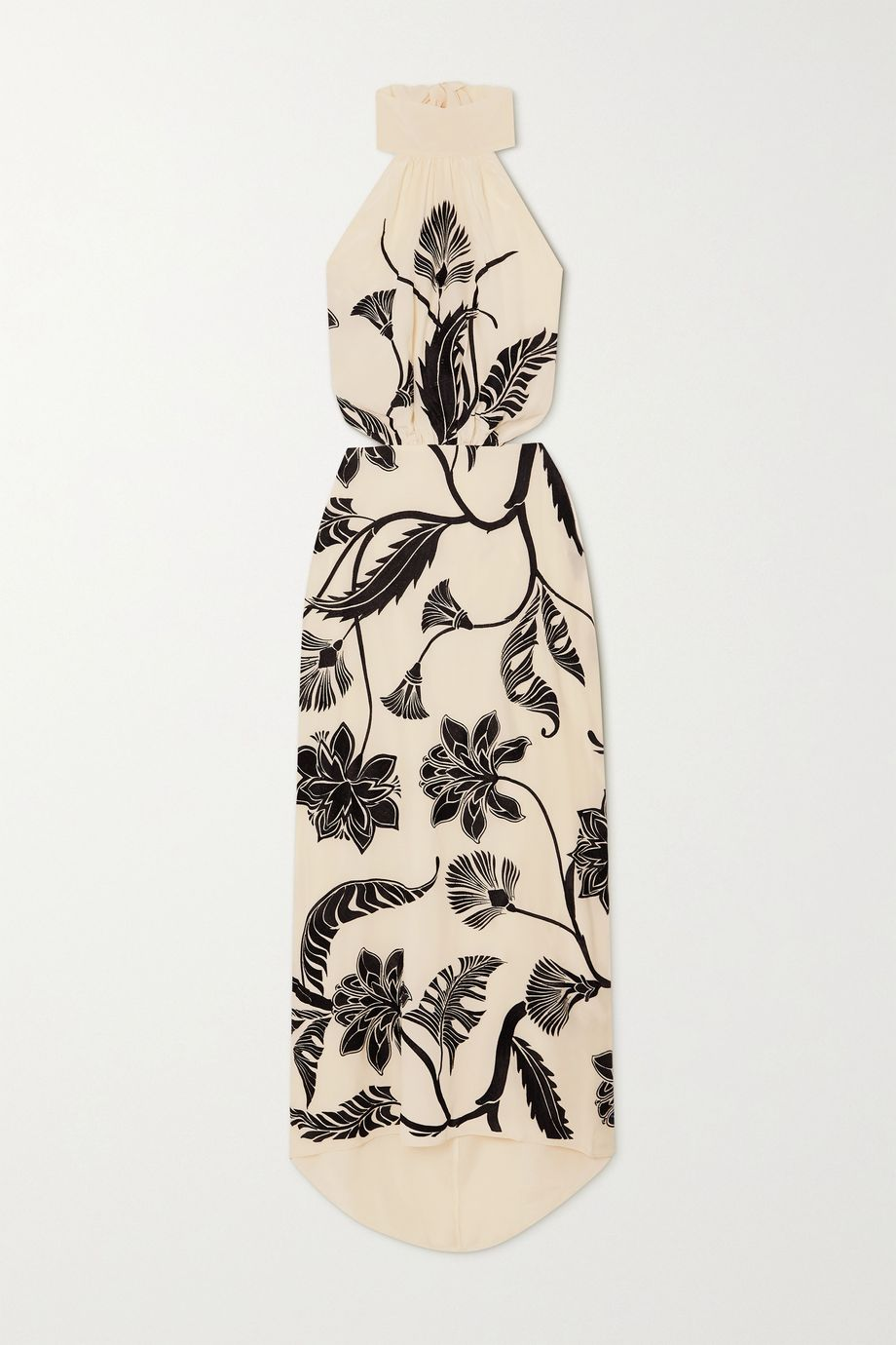 Johanna Ortiz Ancient Dynasty embroidered silk crepe de chine halterneck maxi dress