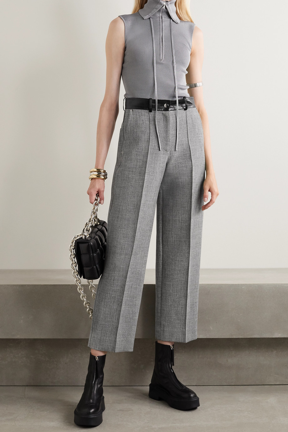 Peter Do Fireman cropped leather-trimmed tweed straight-leg pants
