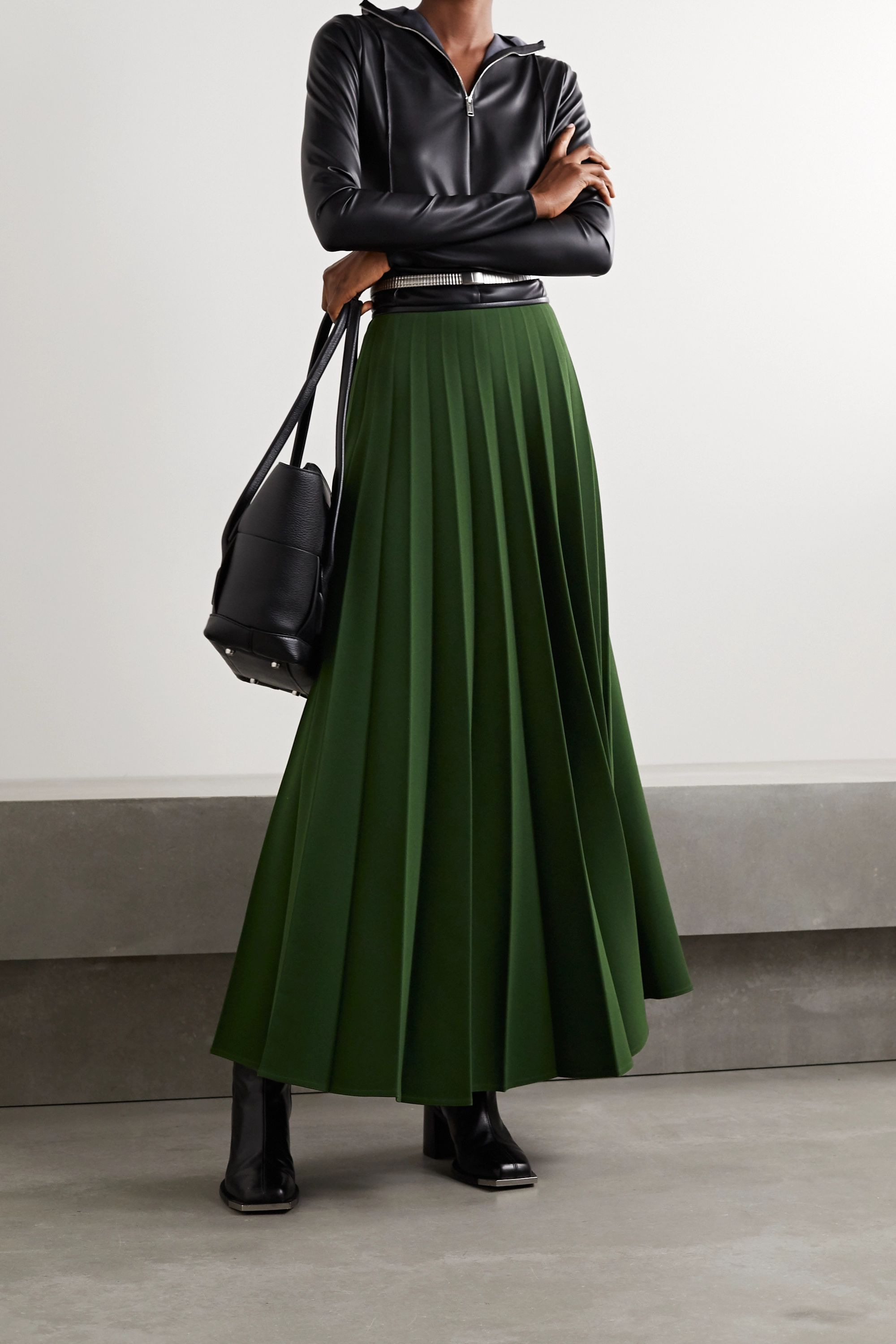 Peter Do Pleated crepe skirt
