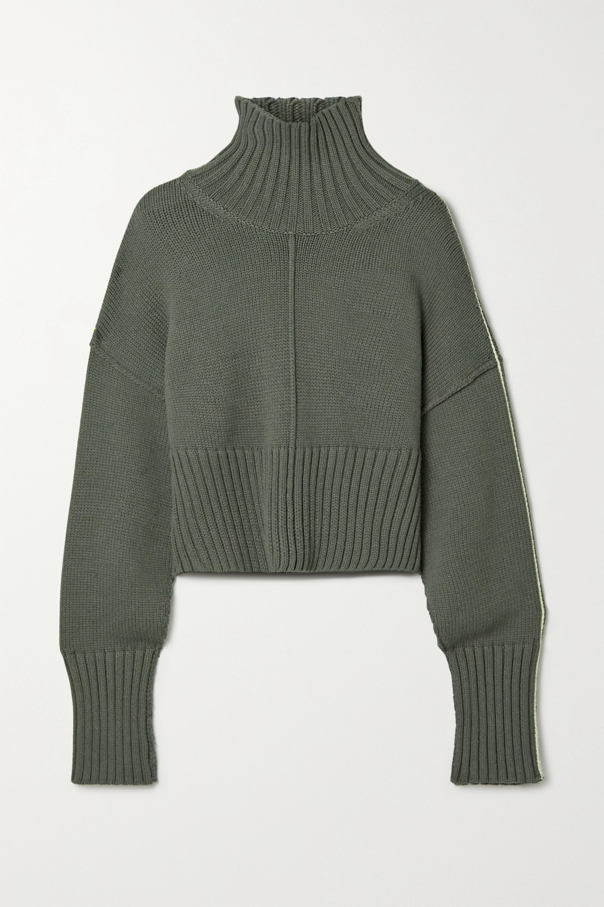 Anthracite Cropped Knitted Turtleneck Sweater | Peter Do