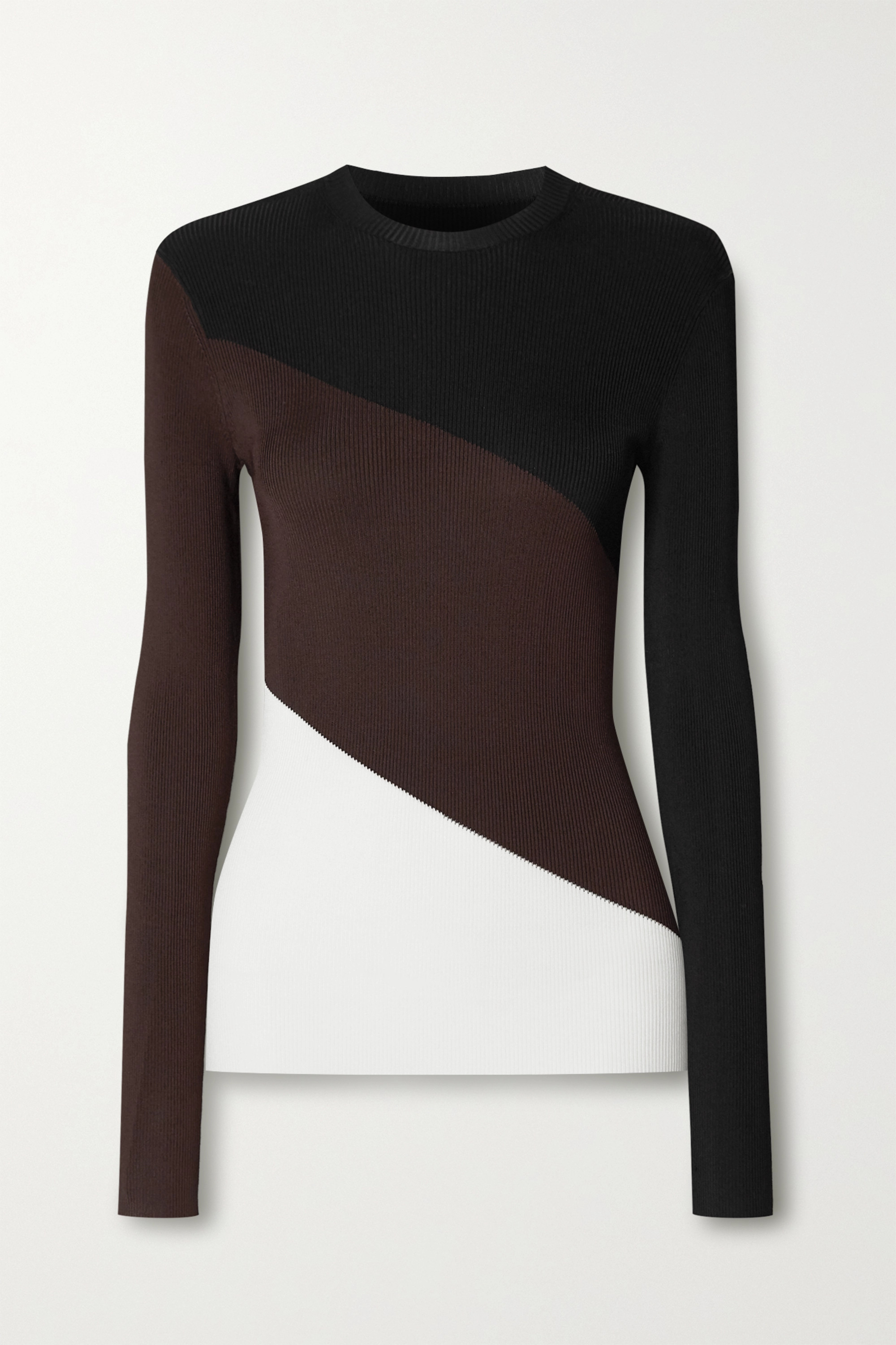 Peter Do Color-block ribbed-knit sweater