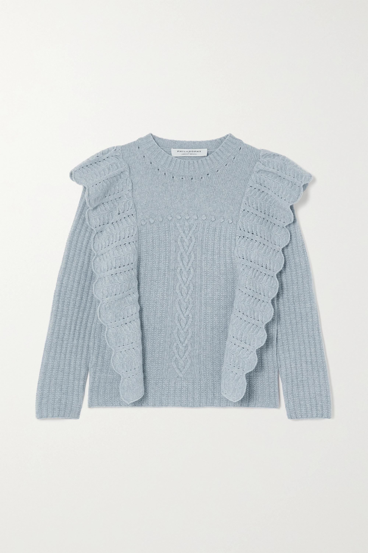 Philosophy di Lorenzo Serafini Ruffled mélange cashmere and wool-blend sweater