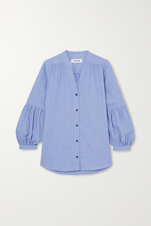 Cefinn Ella gathered cotton-chambray shirt