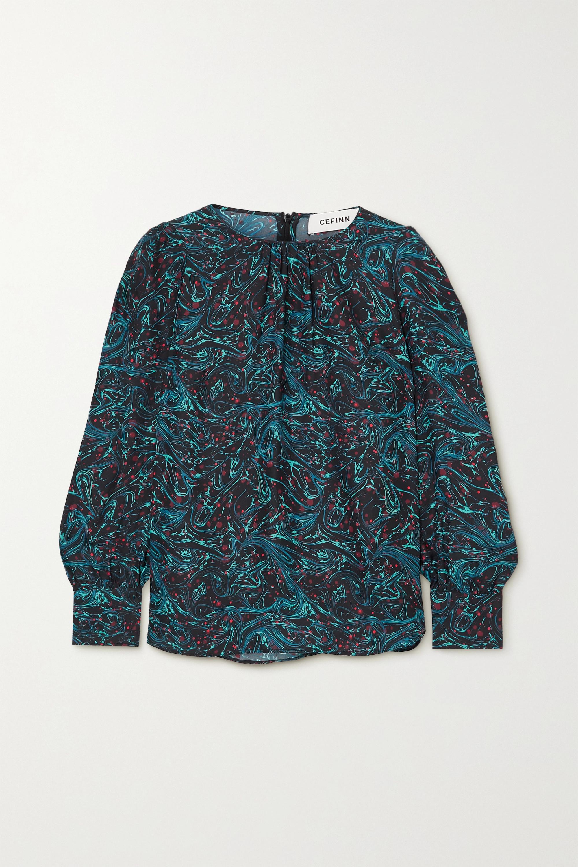 Cefinn Olivia gathered printed twill blouse