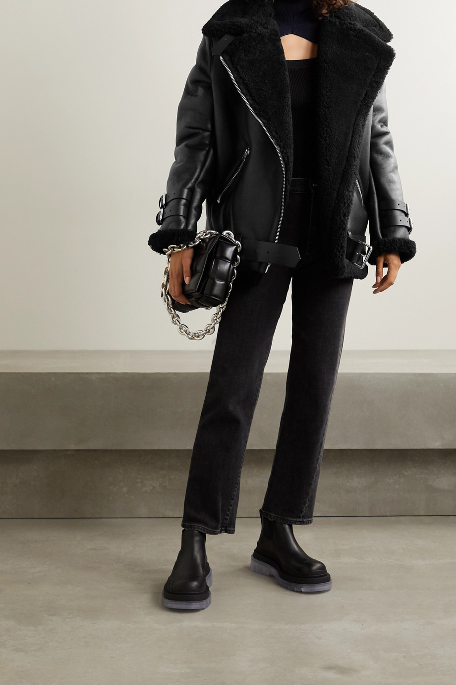 Acne Studios Leather-trimmed shearling jacket