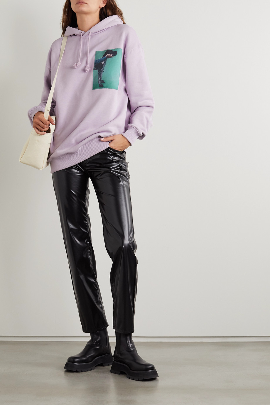 Acne Studios Appliquéd printed cotton-jersey hoodie