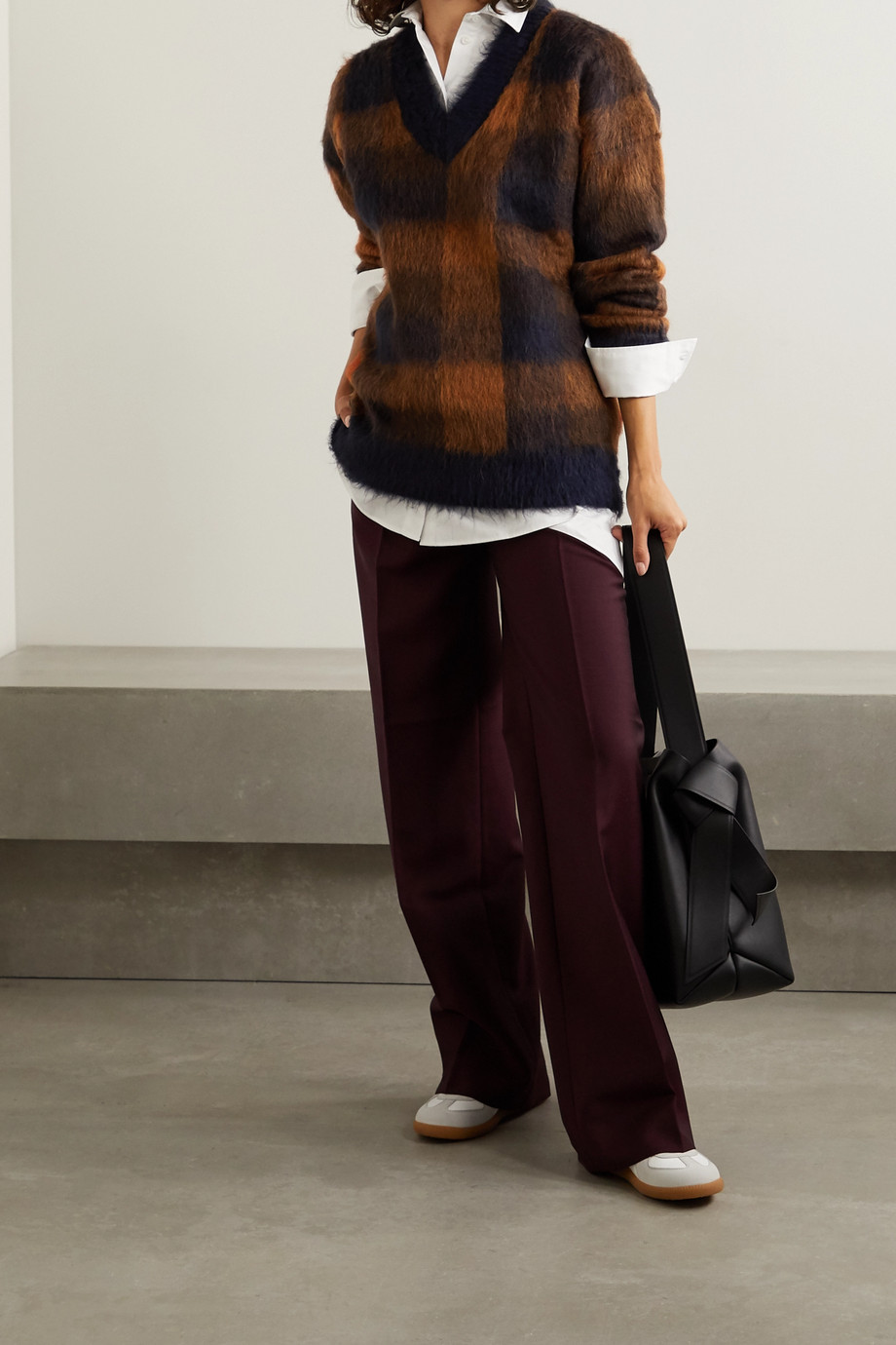 Acne Studios Oversized checked knitted sweater