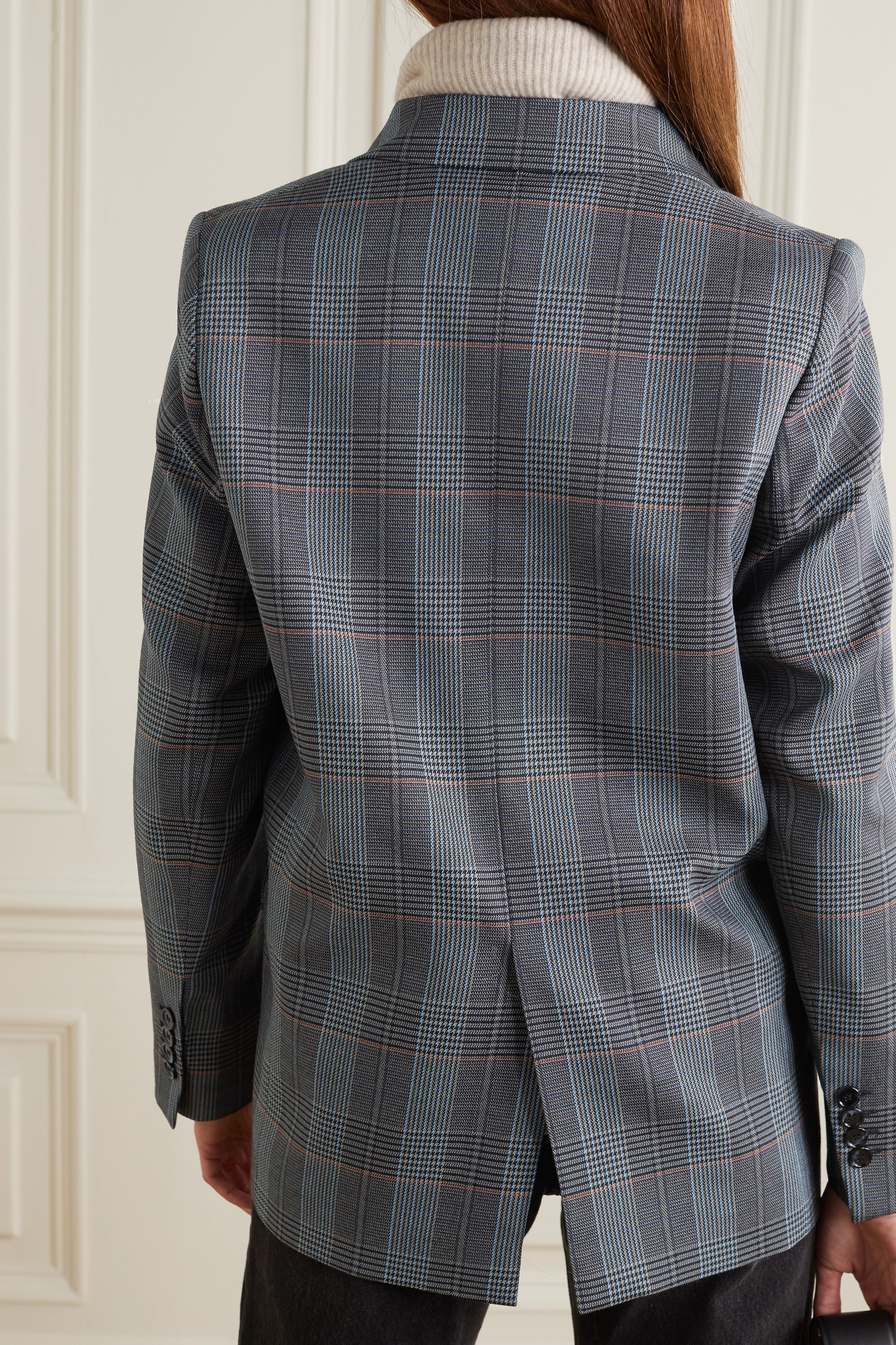 Acne Studios Double-breasted checked wool-blend blazer