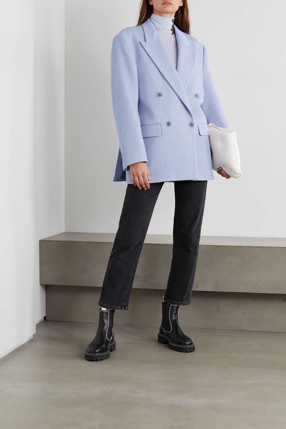 Acne Studios Double-breasted wool-blend drill blazer