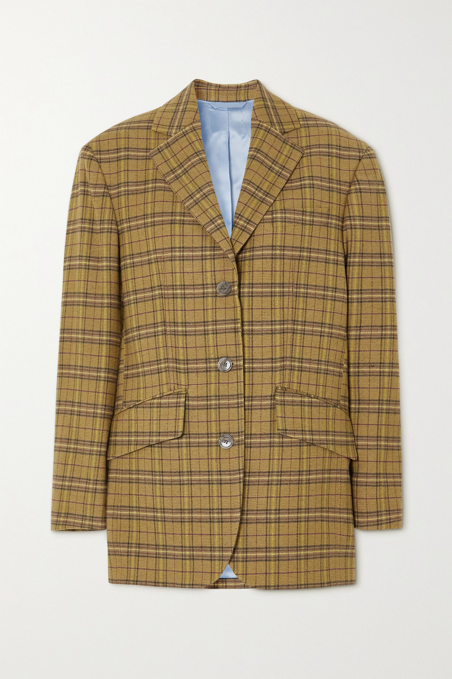 Acne Studios Oversized appliquéd checked wool-blend blazer