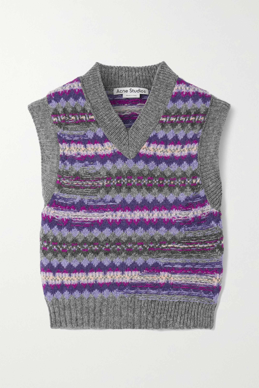 Acne Studios Cropped intarsia wool sweater