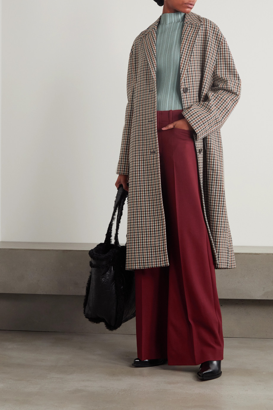 Acne Studios Oversized checked wool-blend coat