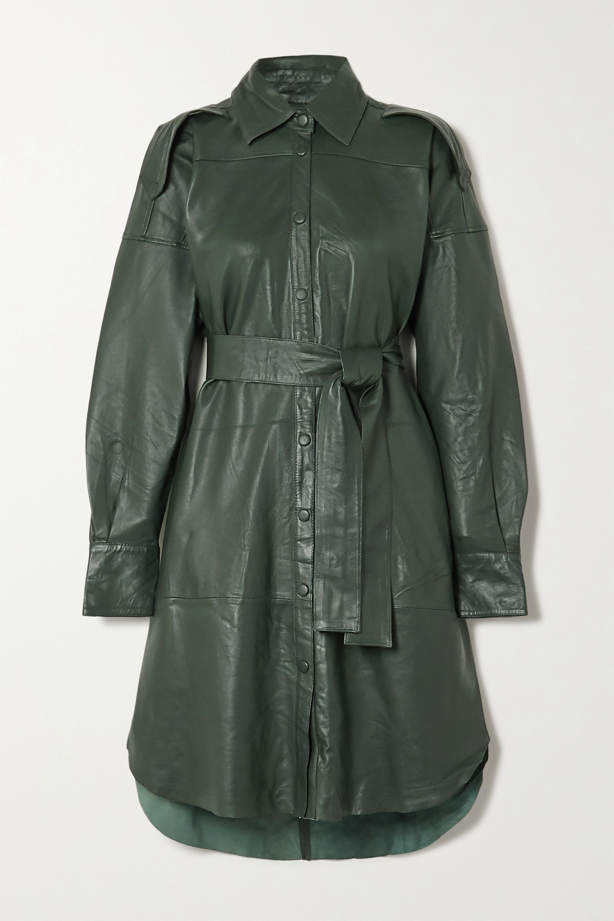 REMAIN Birger Christensen Lavare belted leather shirt dress