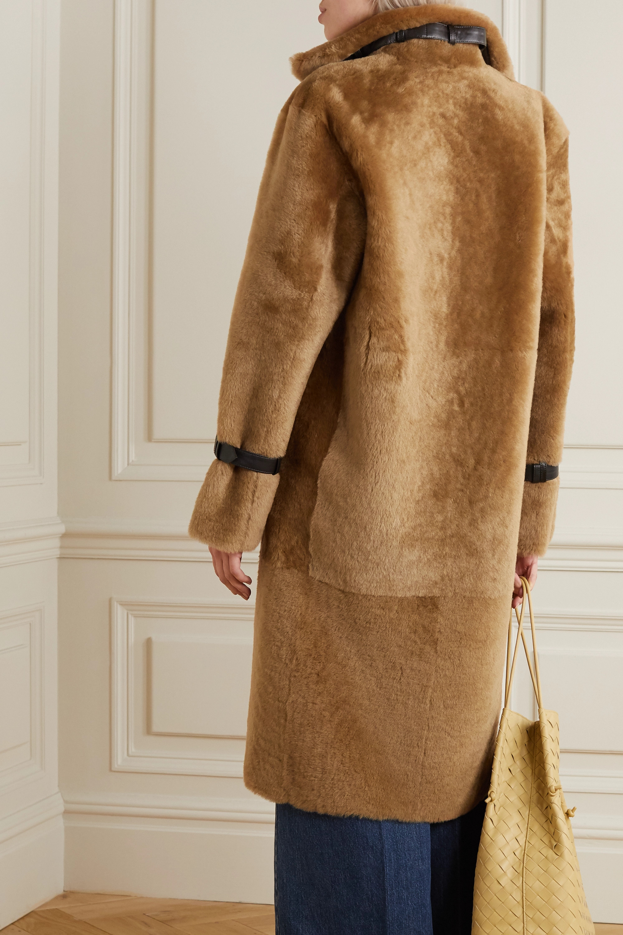 REMAIN Birger Christensen Campioni belted leather-trimmed shearling coat