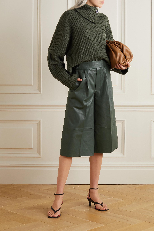 REMAIN Birger Christensen Duchesse pleated leather shorts