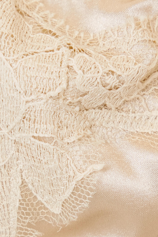 Dolce & Gabbana Lace-trimmed silk-blend satin underwired balconette bra