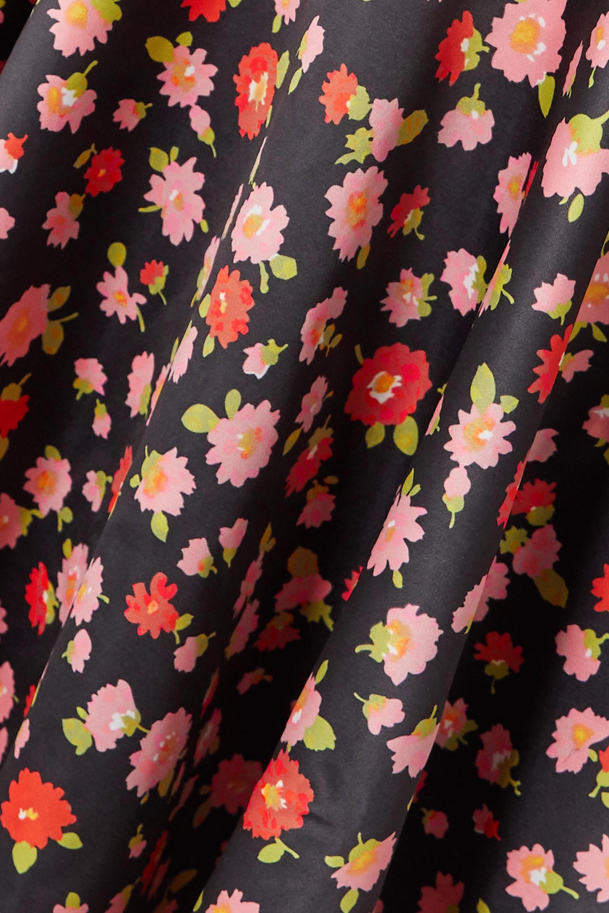 Black Pauline Floral-print Duchesse-satin Mini Dress | Rotate Birger Christensen