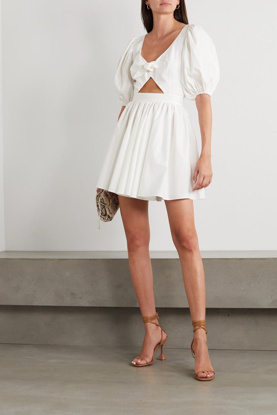 ROTATE Birger Christensen Marie tie-front cutout organic cotton-poplin mini dress