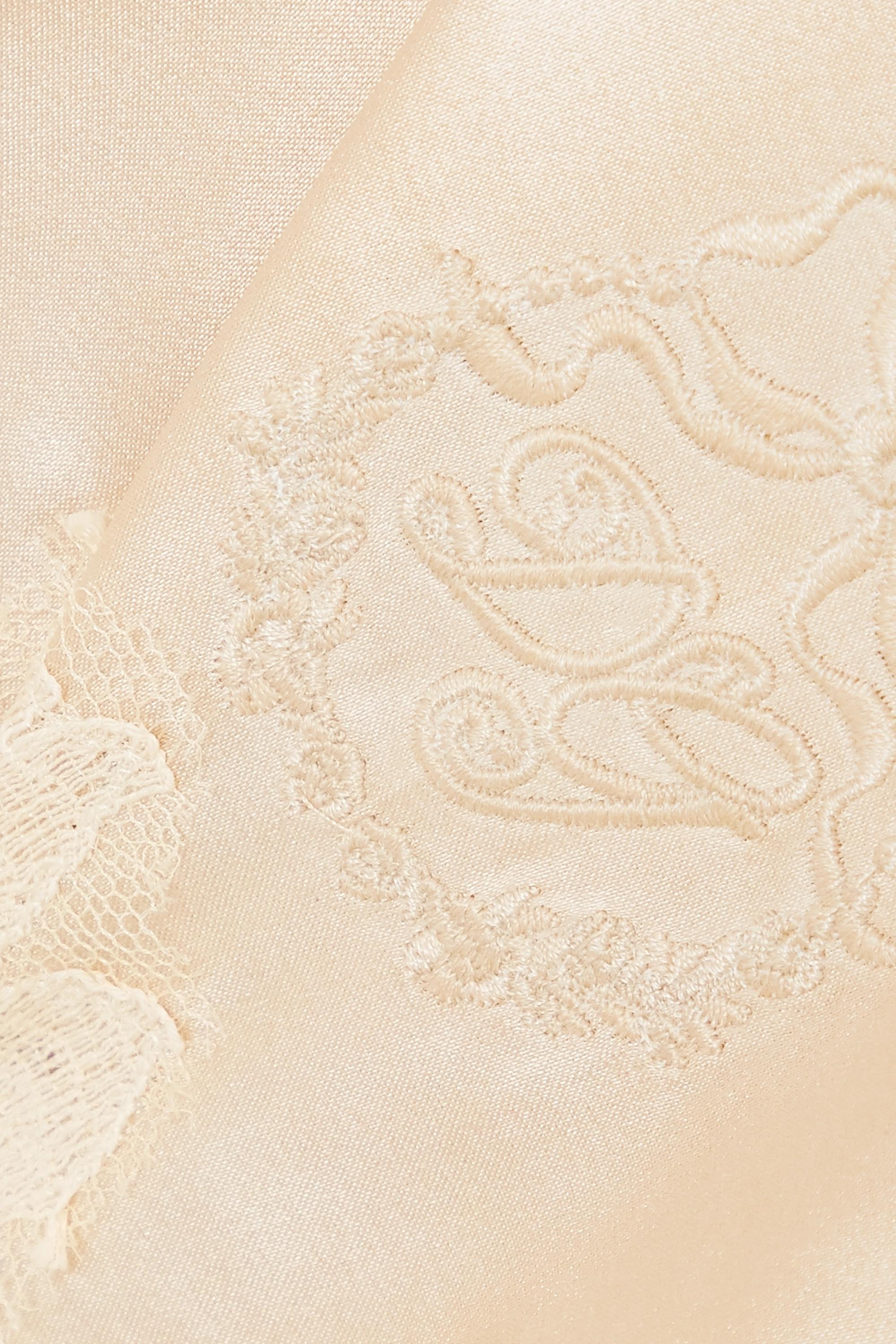 Dolce & Gabbana Top aus besticktem Satin aus einer Seidenmischung mit Spitzenbesätzen