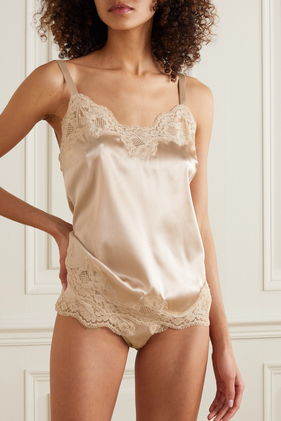 Dolce & Gabbana Embroidered lace-trimmed silk-blend satin camisole