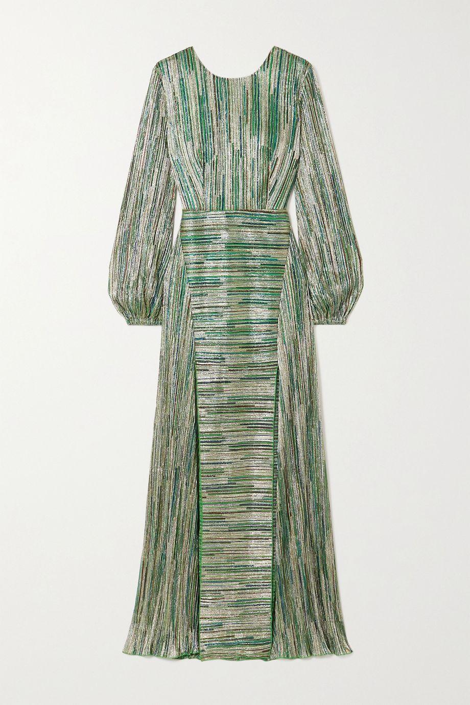 ROTATE Birger Christensen Lisa striped metallic stretch-knit maxi dress