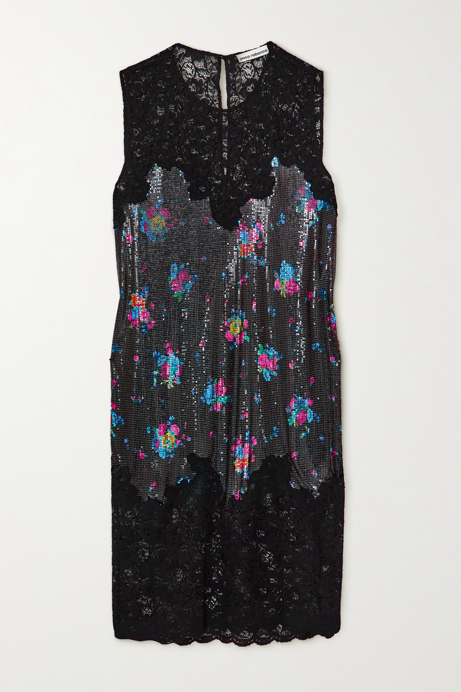 Paco Rabanne Lace and floral-print chainmail dress