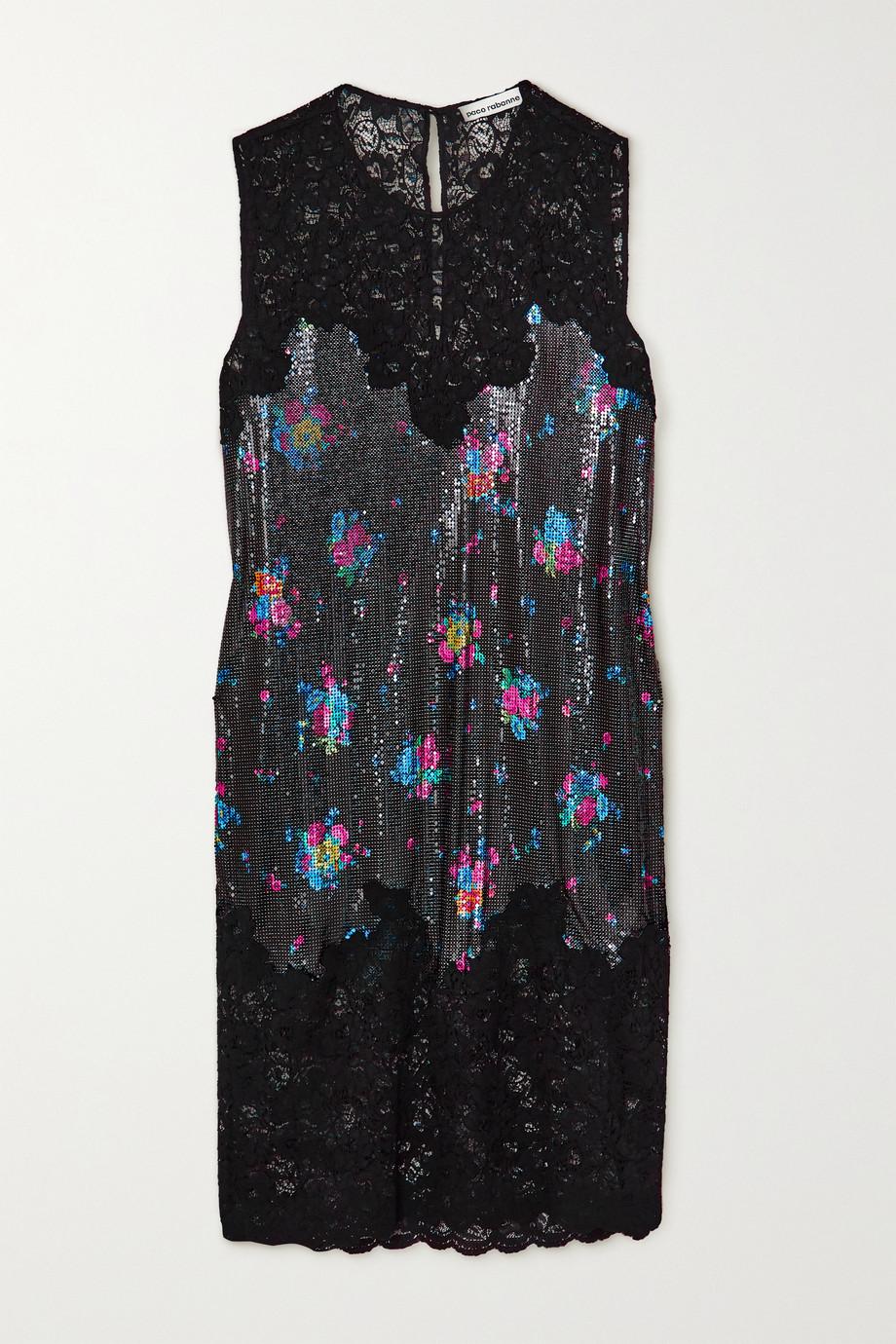 Paco Rabanne Kleid aus Spitze und Metall-Mesh mit Blumenprint