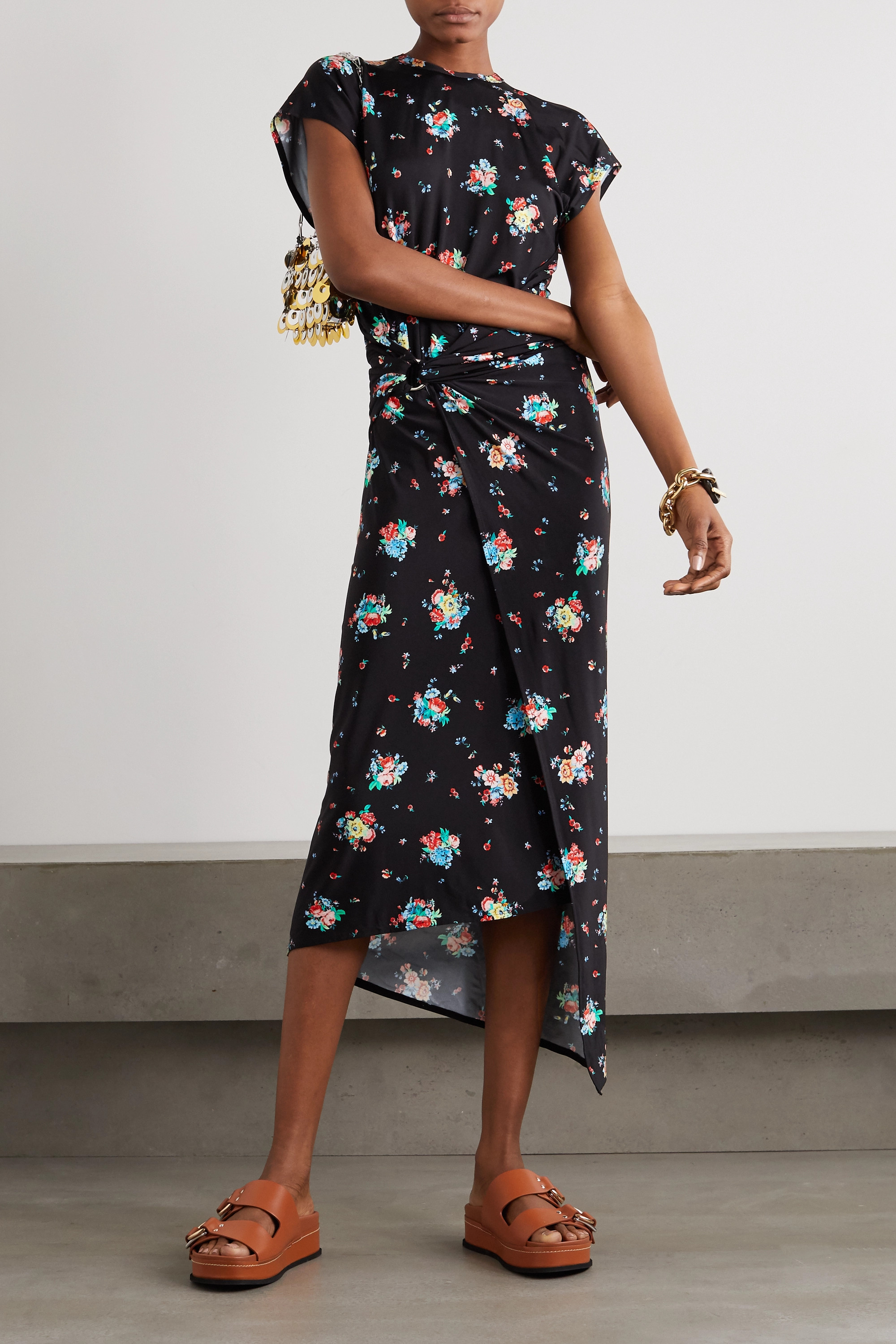 Paco Rabanne Knotted floral-print stretch-jersey midi dress