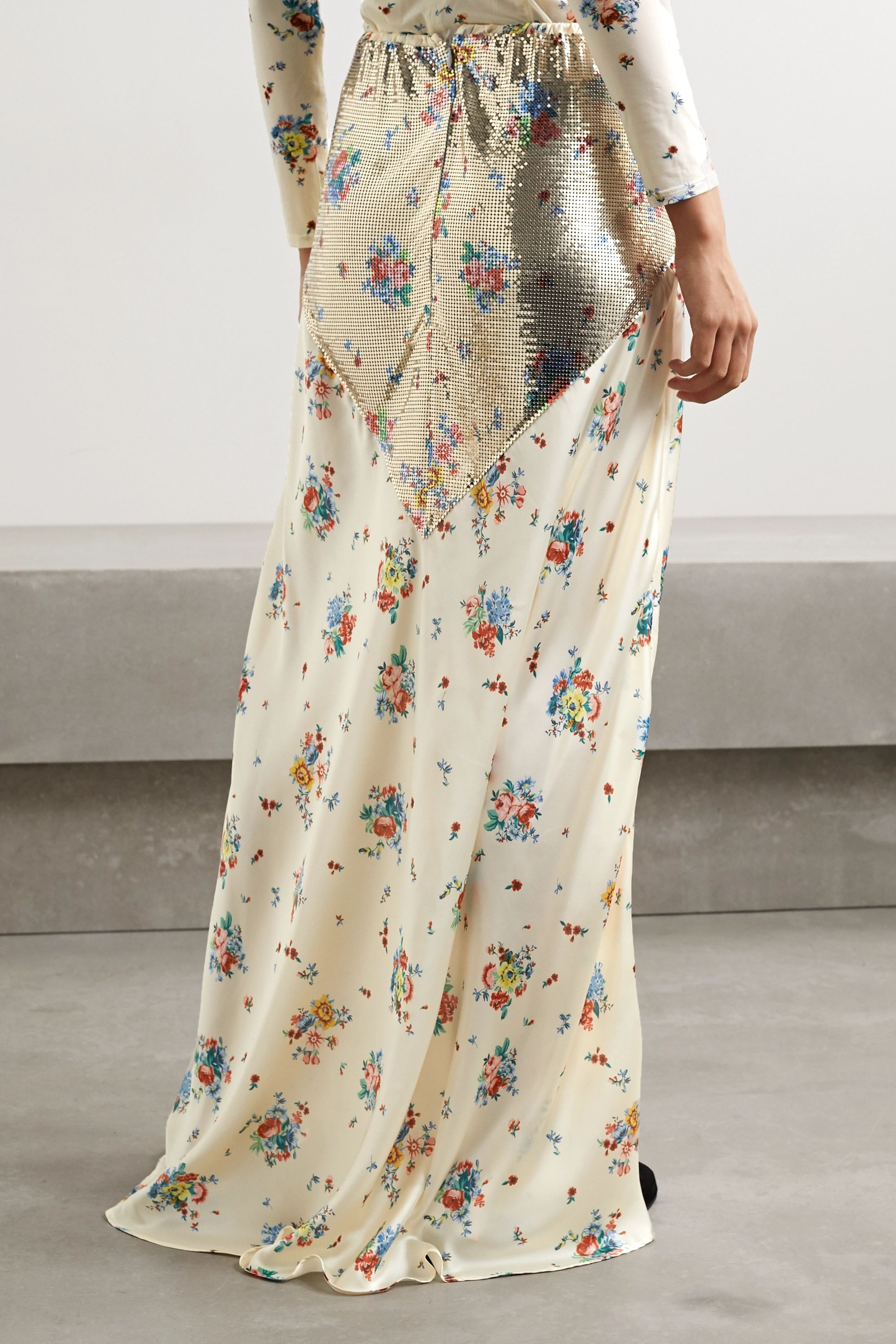 Paco Rabanne Chainmail-trimmed floral-print satin maxi skirt
