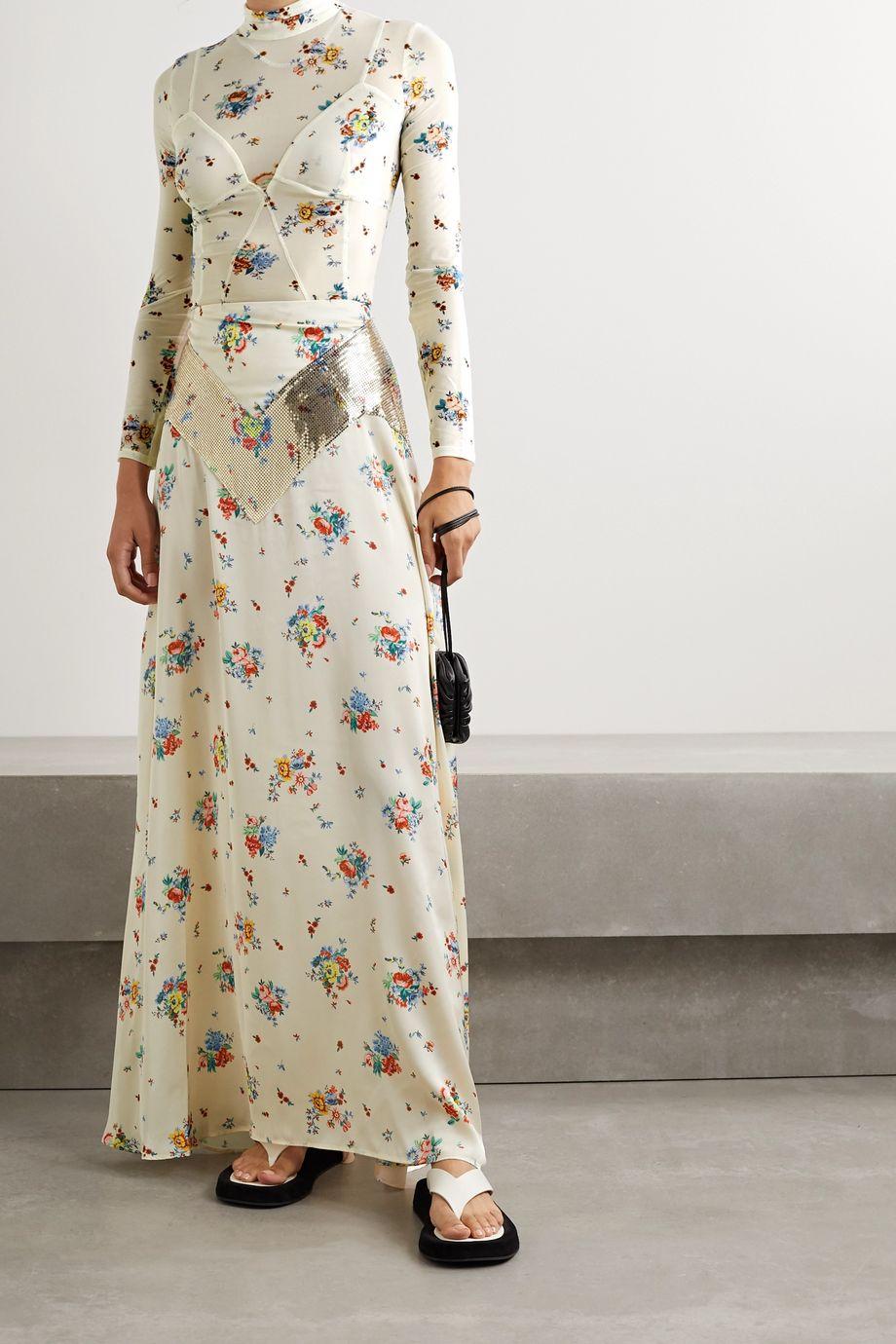 Paco Rabanne 锁子甲边饰花卉印花缎布超长半身裙
