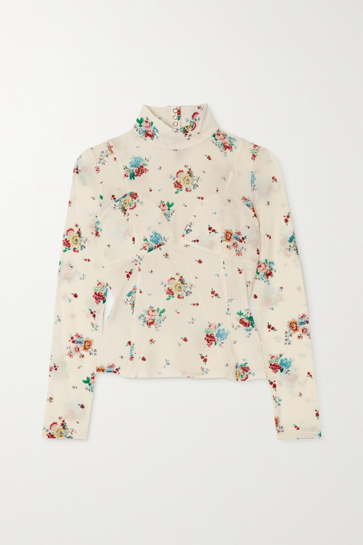 Paco Rabanne Floral-print stretch-crepe turtleneck top