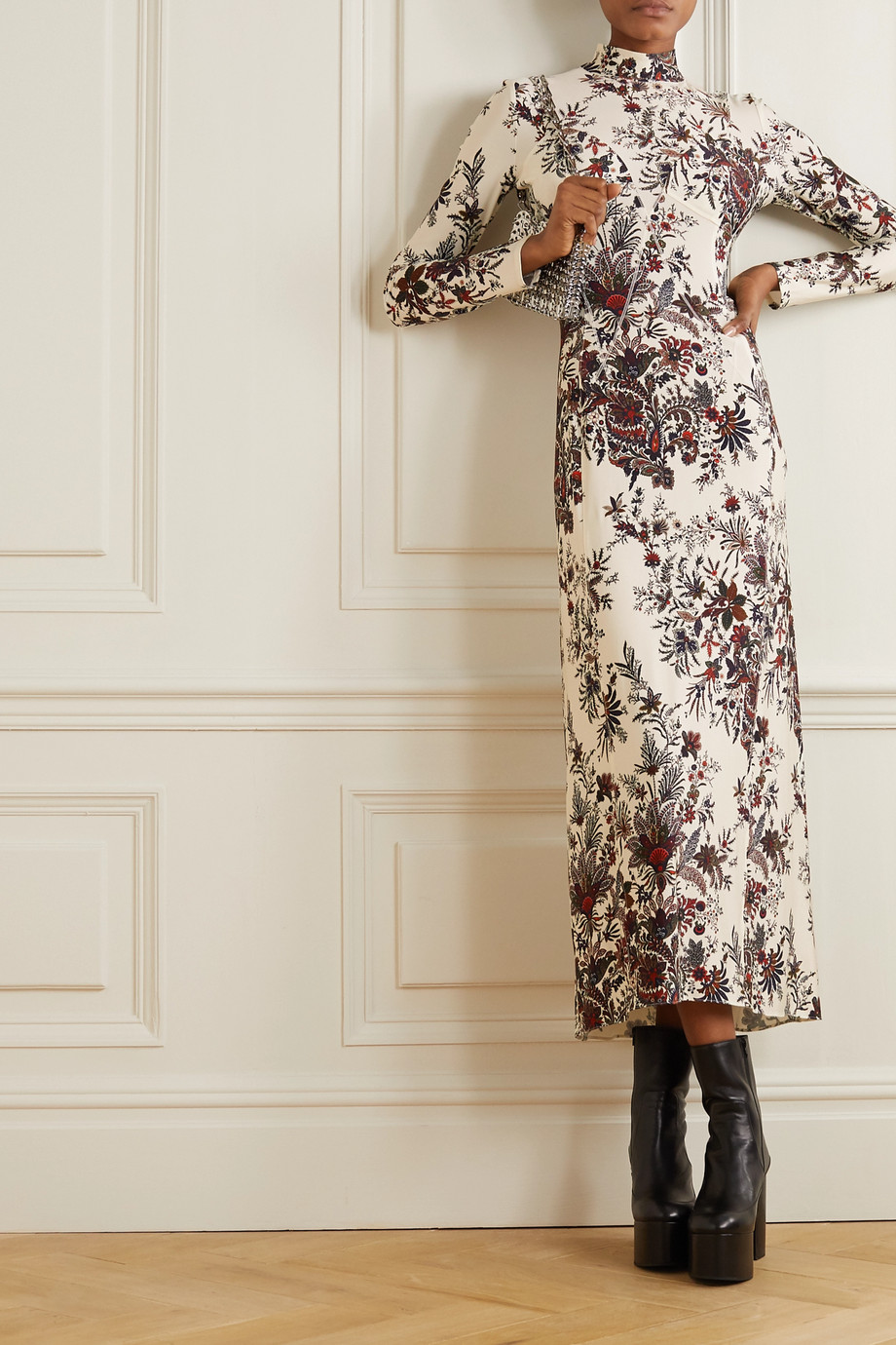 Paco Rabanne Paisley-print stretch-jersey turtleneck midi dress
