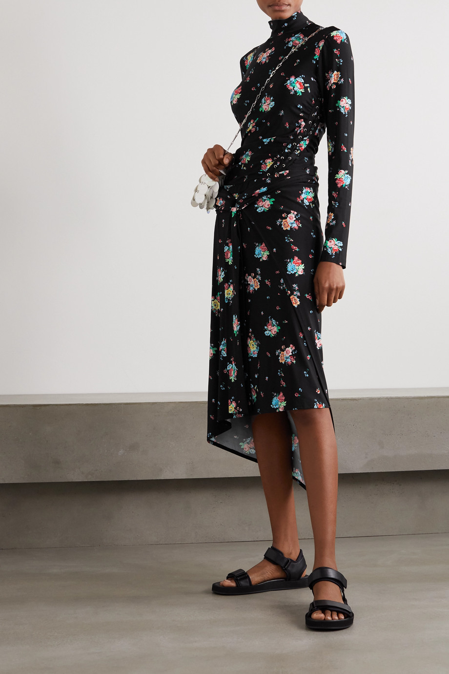 Paco Rabanne 围裹效果花卉印花弹力平纹布中长半身裙
