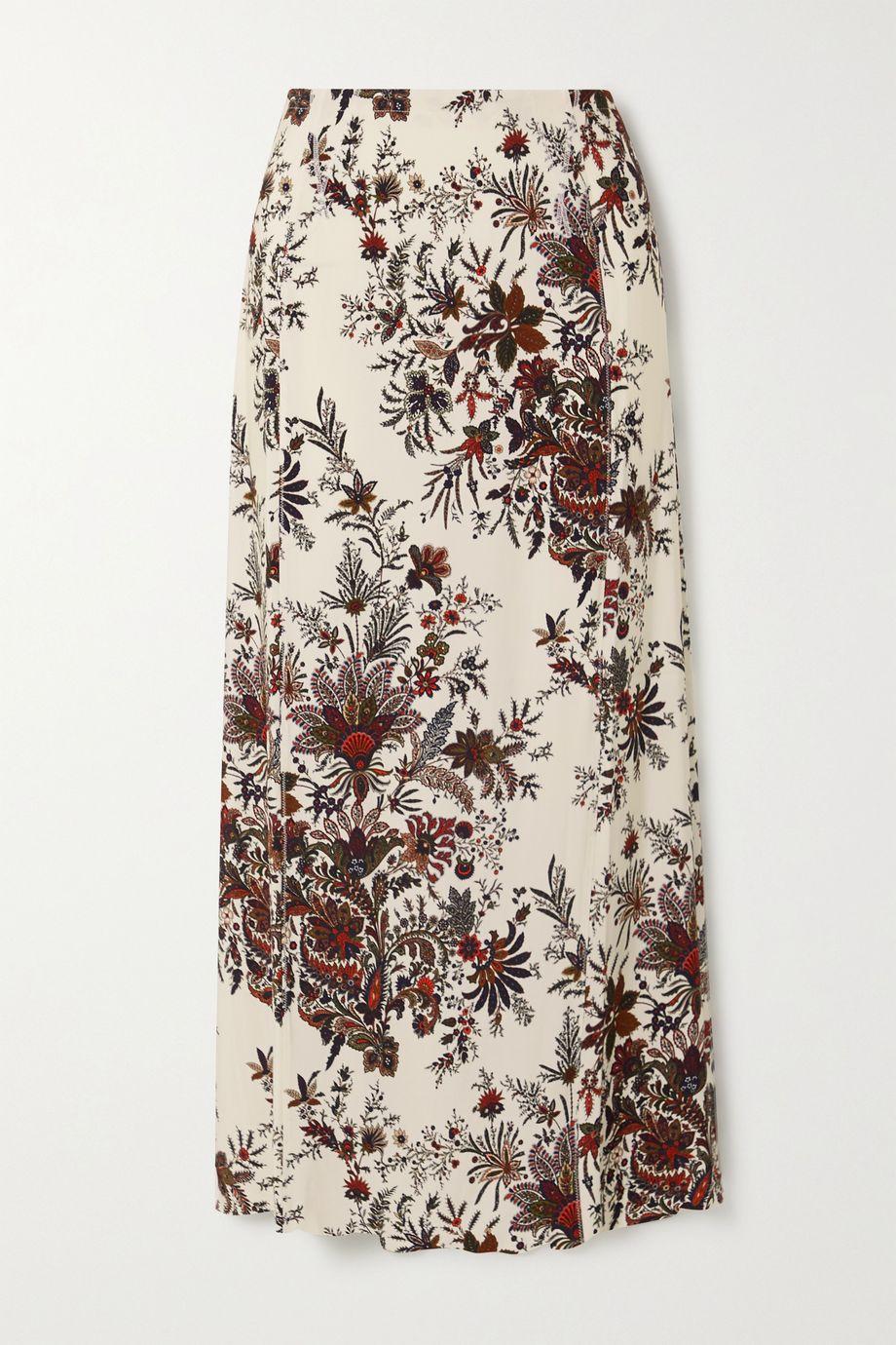 Paco Rabanne 佩斯利印花弹力平纹布中长半身裙